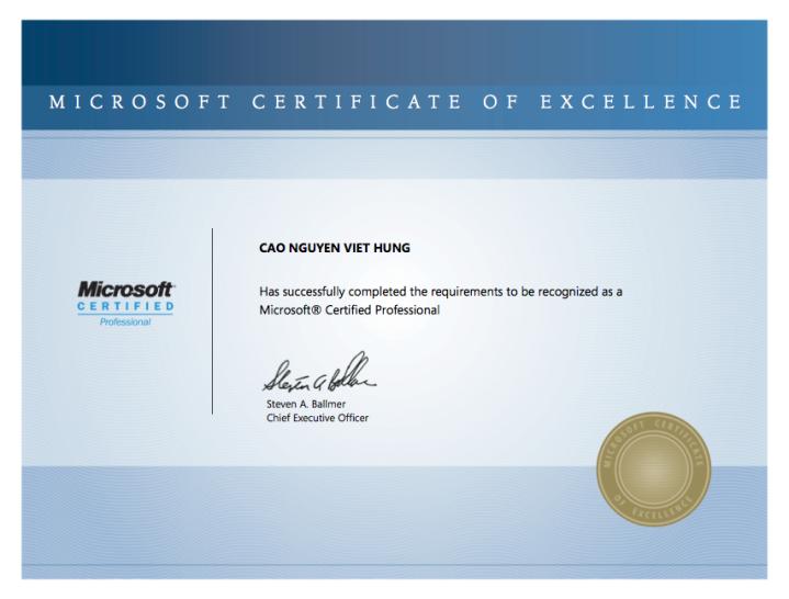 Microsoft Certified Professional (MCP) – @Philip Hung Cao
