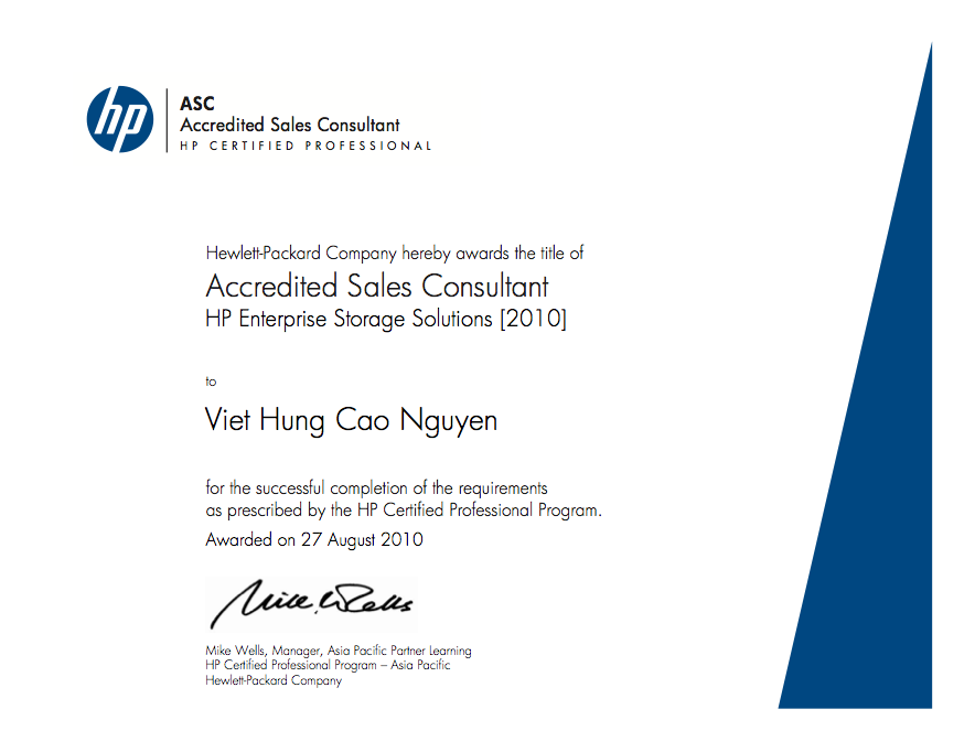 Hp Certified Professional Accredited Sales Consultant Hp