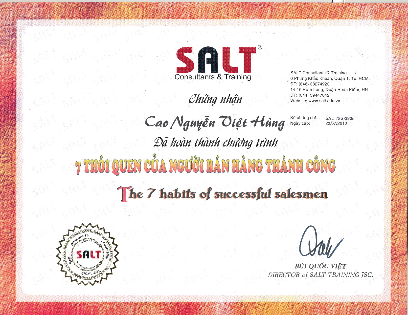 SALT Consultants & Training – 7 Habits of Successful Salesman ...