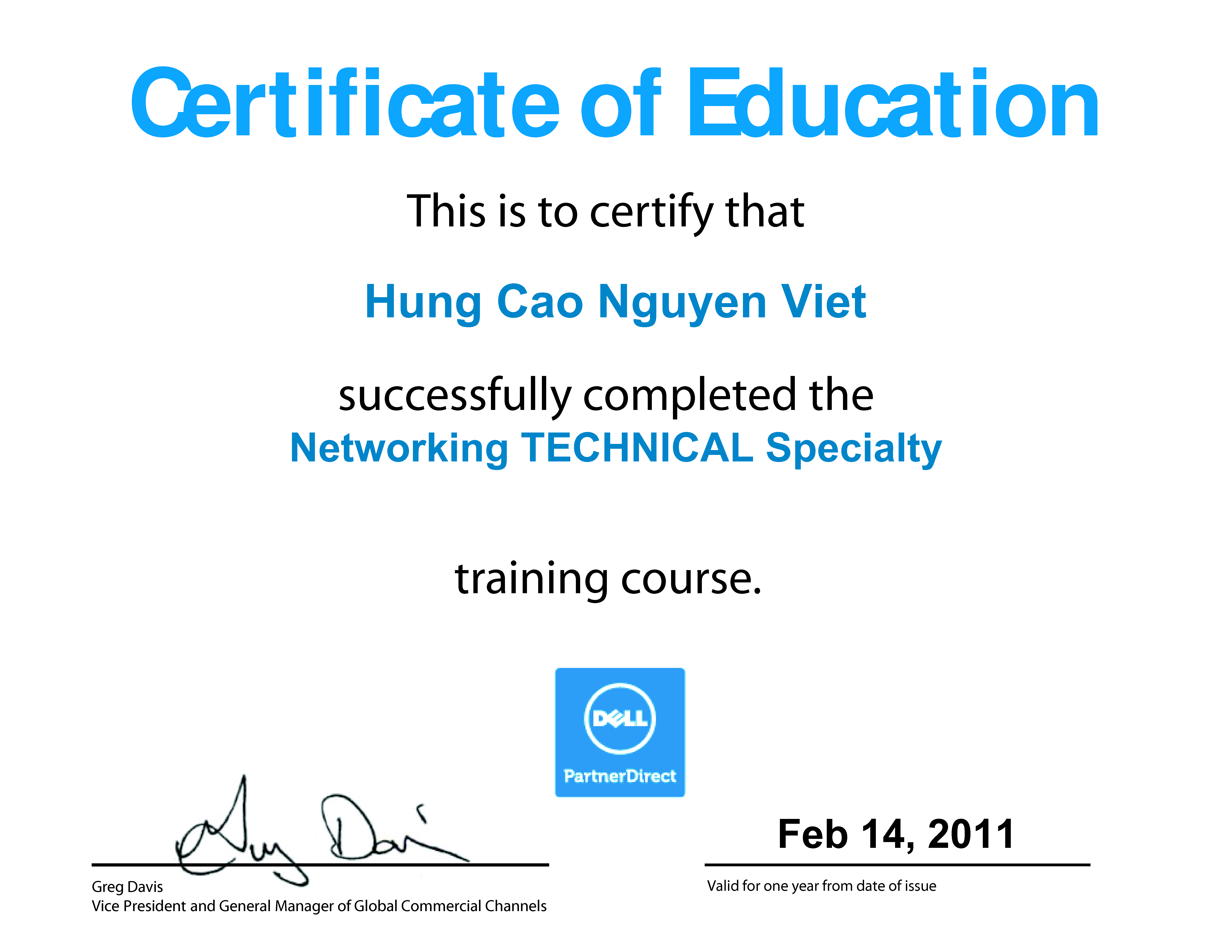 2011 Hung Cao Dell Networking Technical Specialty Certificate