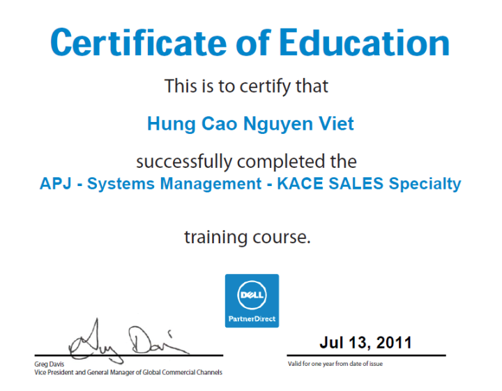 Dell Systems Management Kace Sales Specialty Certificate