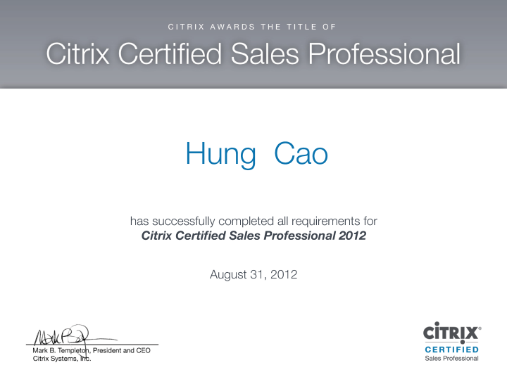 Citrix Certified Sales Professional (CCSP)