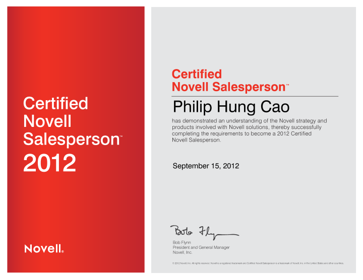 Certified Novell Salesperson (CNS)