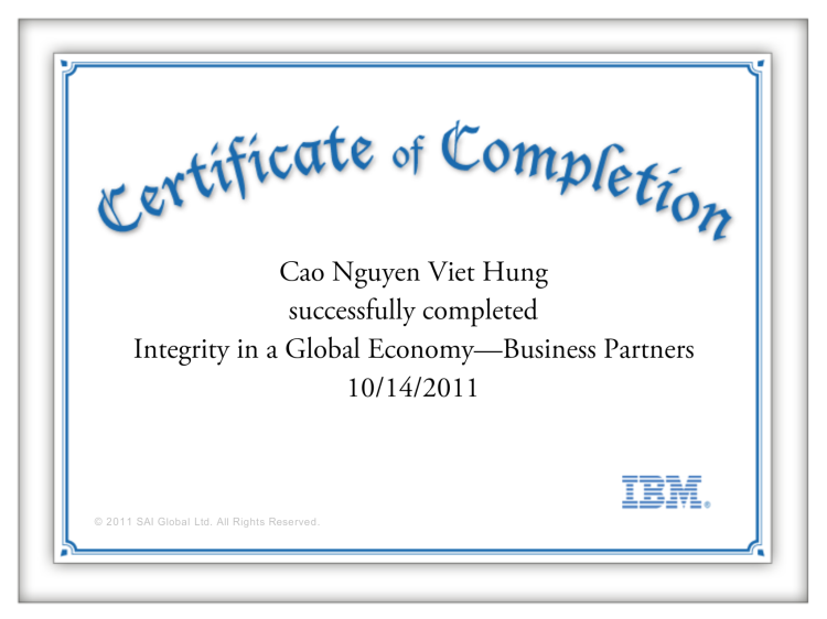 IBM Business Partners - Integrity in a Global Economy - Certificate of Completion  @PhilipHungCao