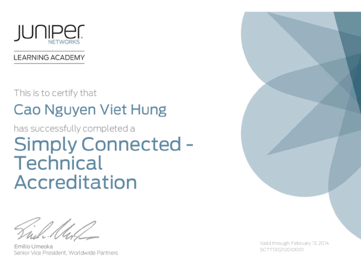Juniper Networks Technical Accreditation – SimplyConnected
