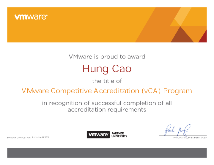 VMware Competitive Accreditation (vCA)Program