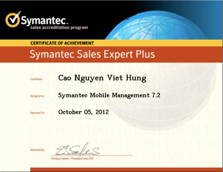 Symantec Sales Expert Plus (SSE+) – Symantec Mobile Management7.2