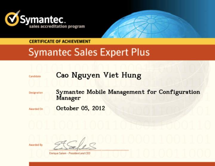 Symantec Sales Expert Plus (SSE+) – Symantec Mobile Management for ConfigurationManager