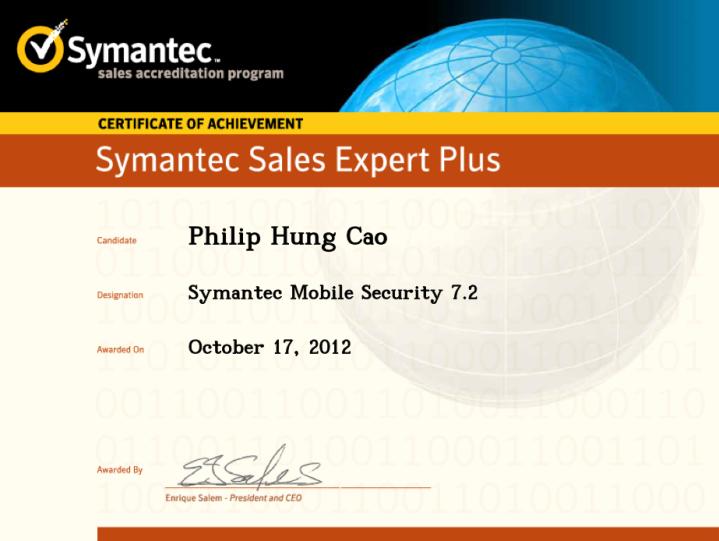 Symantec Sales Expert Plus (SSE+) – Symantec Mobile Security7.2