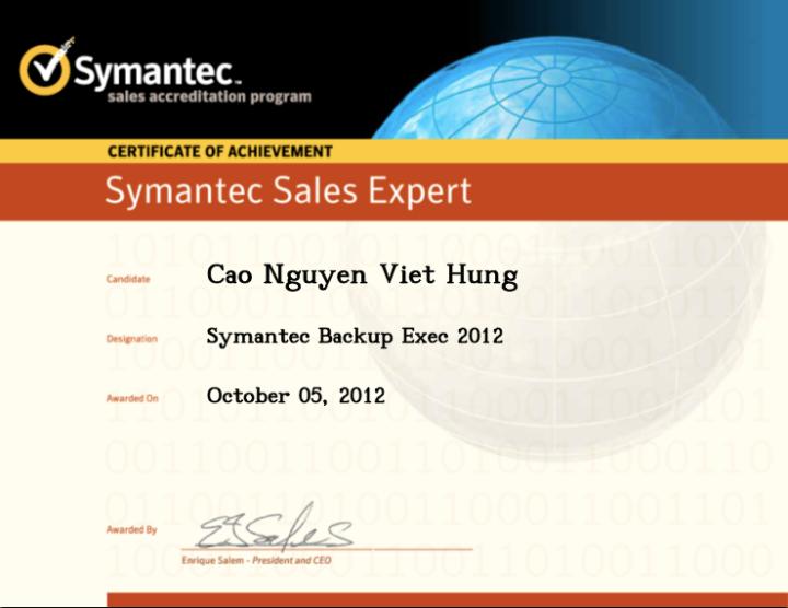 Symantec Sales Expert (SSE) – Symantec Backup Exec2012
