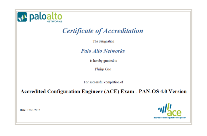[2012] Philip Cao - Palo Alto Networks - Accredited Configuration Engineer (ACE)