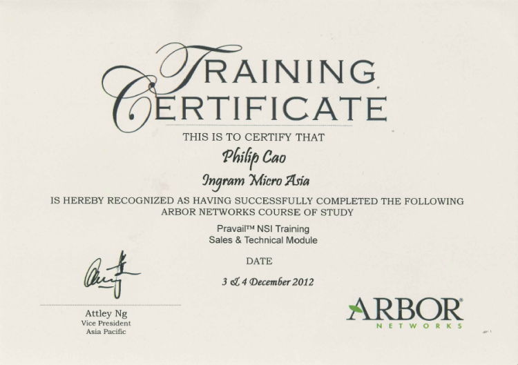 [2012] Philip Cao - Arbor Networks Pravail NSI Sales & Technical - Training Certificate