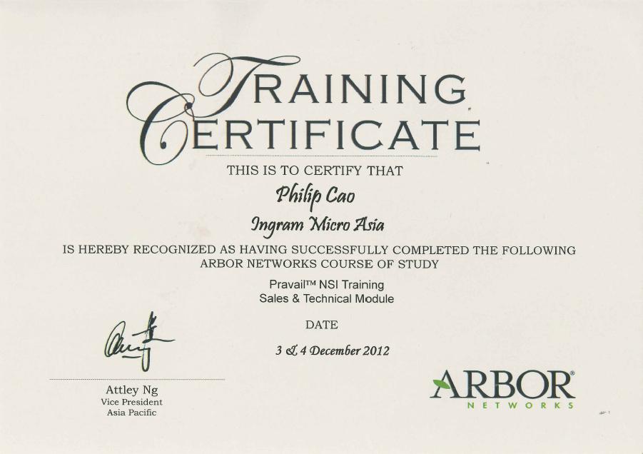 [2012] Philip Cao   Arbor Networks Pravail NSI Sales U0026 Technical   Training  Certificate