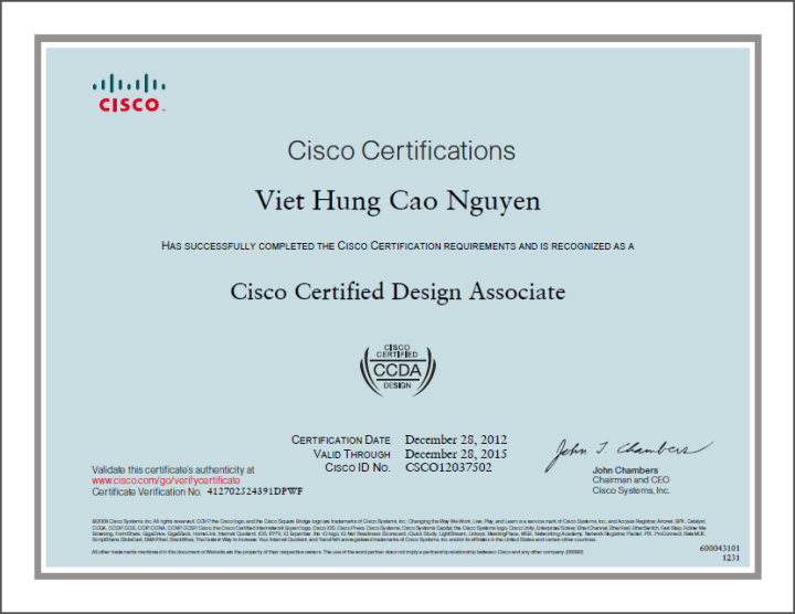 [2012] Philip Cao - Cisco Certified Design Associate (CCDA)