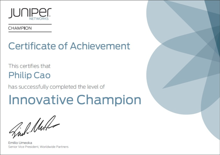 [2013] Philip Cao - Juniper Networks Innovative Champion