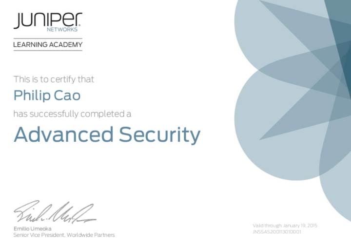 [2013] Philip Cao - Juniper Networks Sales Specialist (JNSS) - Advanced Security
