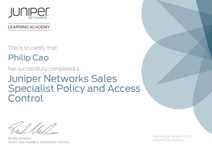 Juniper Networks Sales Specialist (JNSS) – Policy and Access Control