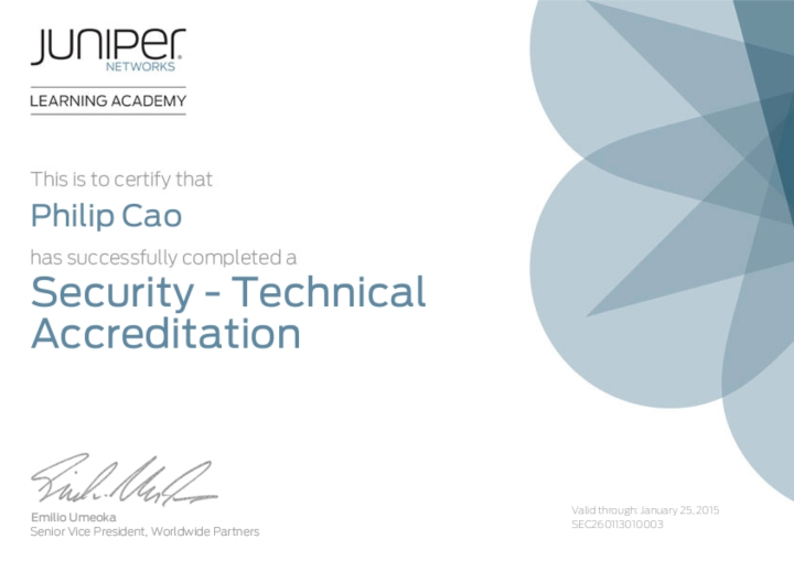 Juniper Networks Technical Accreditation – Security [2013]