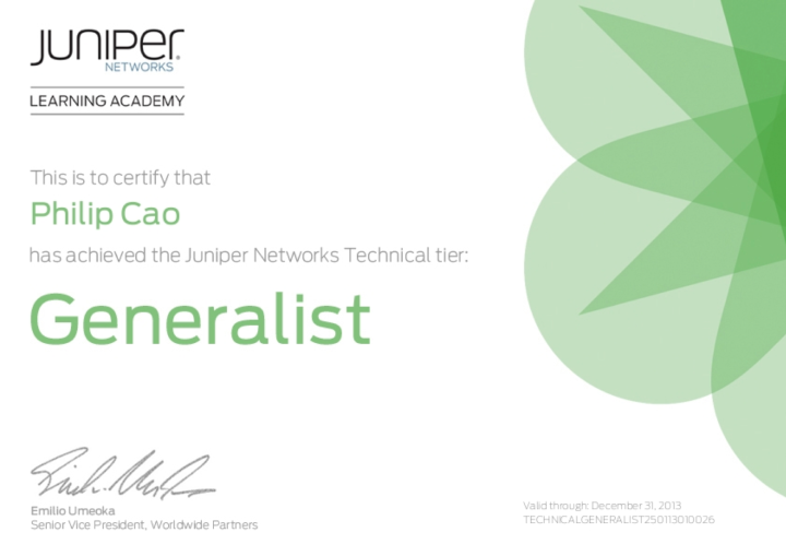 [2013] Philip Cao - Juniper Networks Technical Generalist