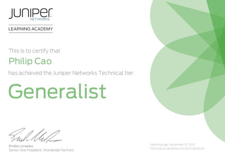 Juniper Networks Technical Generalist[2013]