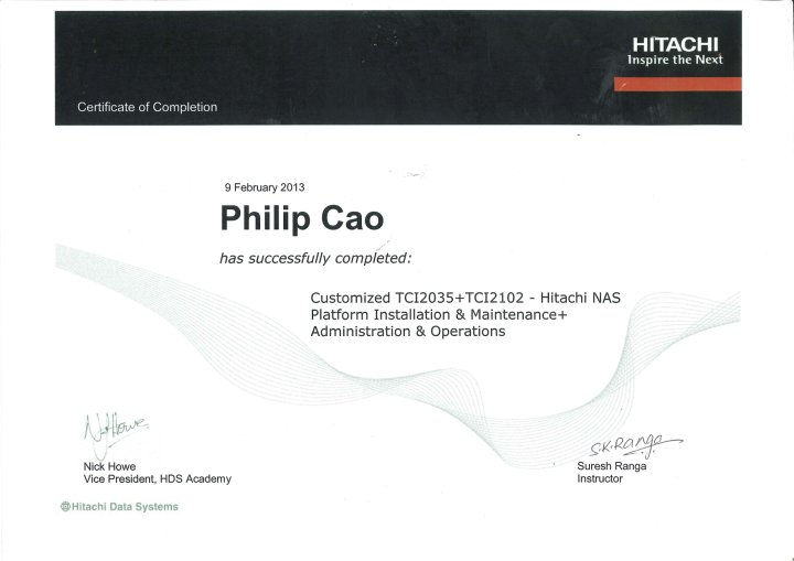 Customized TCI2035 + TCI2102 – Hitachi NAS Platform Installation & Maintenance + Administration & Operations – Certificate of Completion