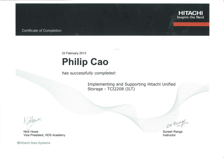 [2013] Philip Cao - Implementing & Supporting Hitachi Unified Storage - TCI2208