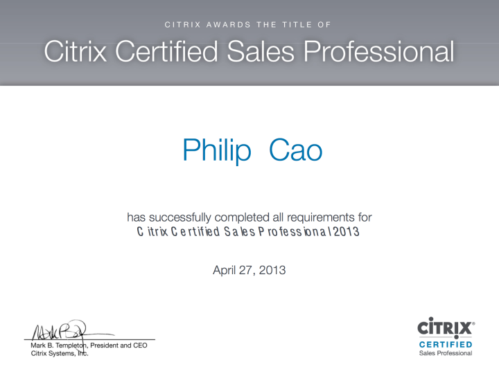 [2013] Philip Cao - Citrix Certified Sales Professional (CCSP)