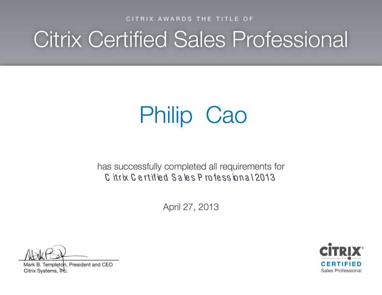 [2013] Philip Cao - Citrix Certified Sales Professional (CCSP)