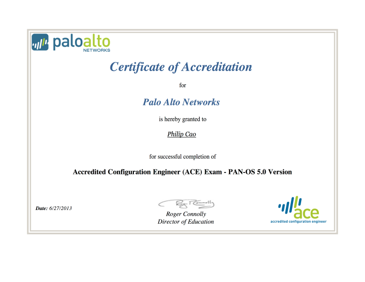 Palo Alto Networks – Accredited Configuration Engineer (ACE) 5.0