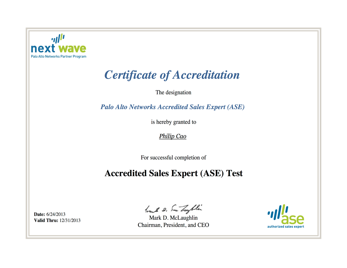 Palo Alto Networks Accredited Sales Expert Ase Philipngo