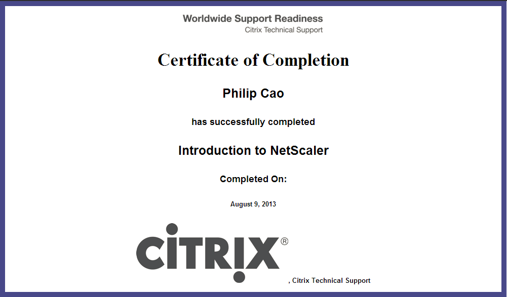 Introduction to Citrix NetScaler – Certificate of Completion ...