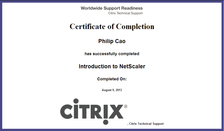 Introduction to Citrix NetScaler – Certificate ofCompletion