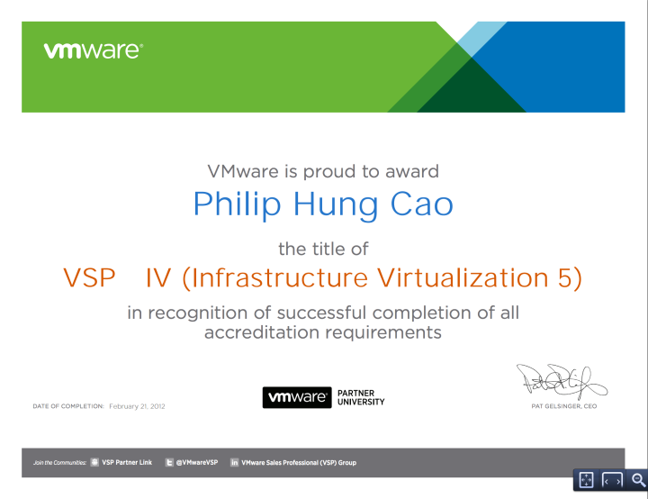 VMware Sales Professional – Infrastructure Virtualization 5(VSP-IV5)