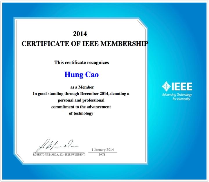 IEEE – 2014 Certificate ofMembership