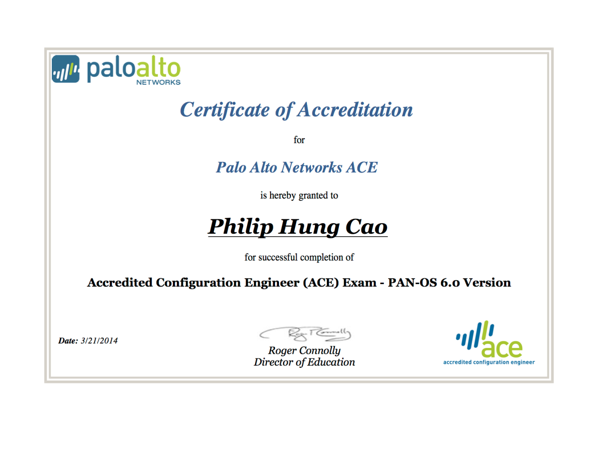 Palo Alto Networks Accredited Configuration Engineer Ace 60