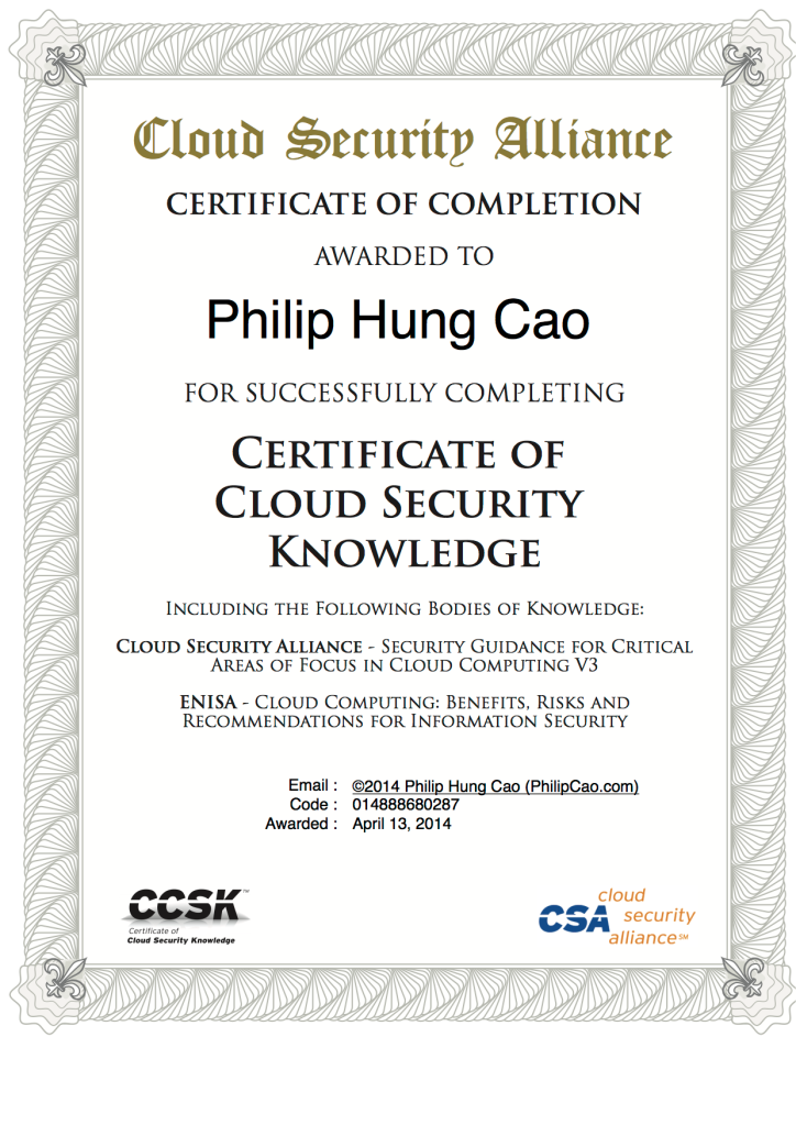 [2014] Philip Hung Cao - Certificate of Cloud Security Knowledge (CCSK)