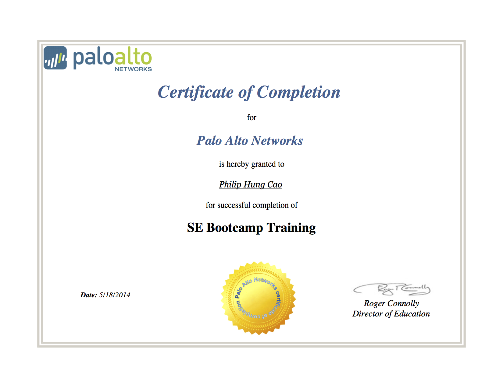 [2014] Philip Hung Cao   SE Bootcamp Training   Certificate Of Completion  Certificate Of Completion Training