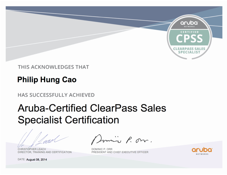 [2014] Philip Hung Cao - Aruba-Certified ClearPass Sales Specialist (CPSS)