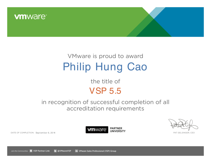 VMware Sales Professional 5.5 (VSP5.5)