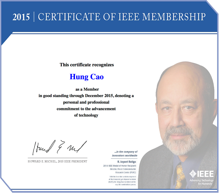[2014] IEEE – 2015 Certificate of Membership
