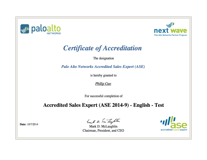 [2014] Philip Cao - Accredited Sales Expert (ASE 2014-9)