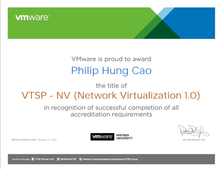 VMware Technical Sales Professional – Network Virtualization(VTSP-NV)
