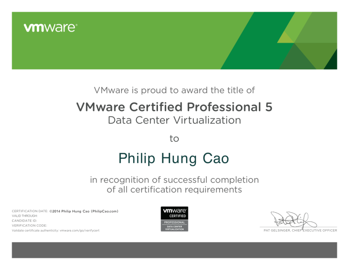 VMware Certified Professional 5 – Data Center Virtualization (VCP5-DCV)