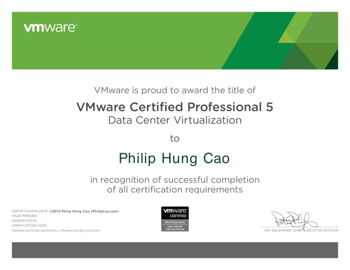 VMware Certified Professional 5 – Data Center Virtualization(VCP5-DCV)