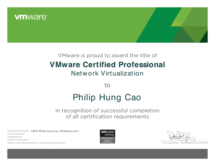 [2014] Philip Hung Cao - VMware Certified Professional - Network Virtualization (VCP-NV)