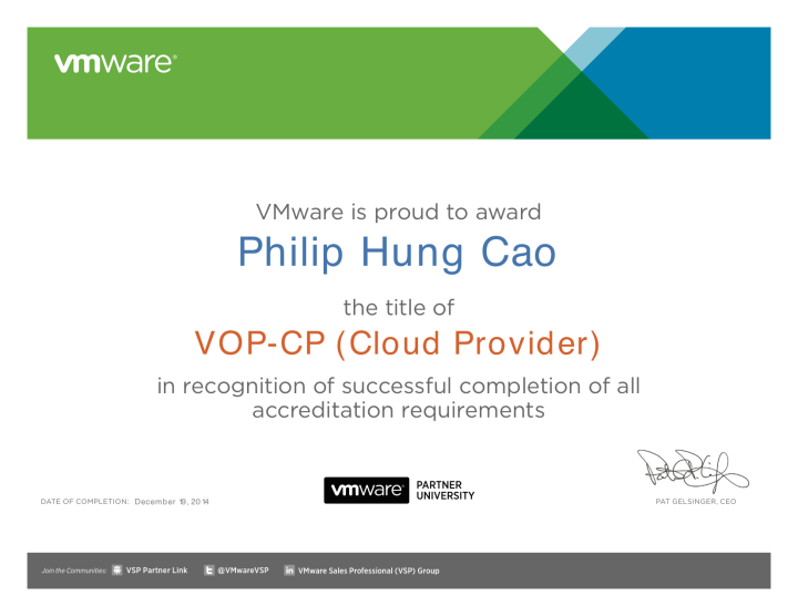 [2014] Philip Hung Cao - VMware Operations Professional - Cloud Provider (VOP-CP)