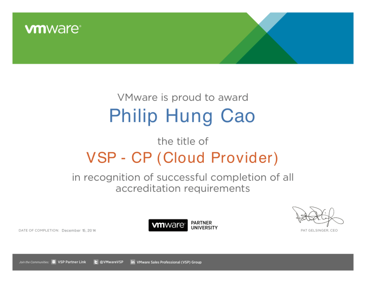 [2014] Philip Hung Cao - VMware Sales Professional - Cloud Provider (VSP-CP)