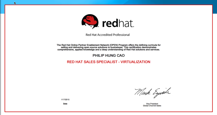 [2015] Philip Hung Cao - Red Hat Sales Specialist - Virtualization