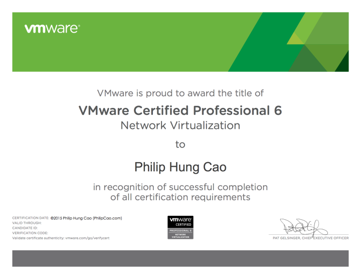 [2015] Philip Hung Cao - VMware Certified Professional 6 - Network Virtualization (VCP6-NV)