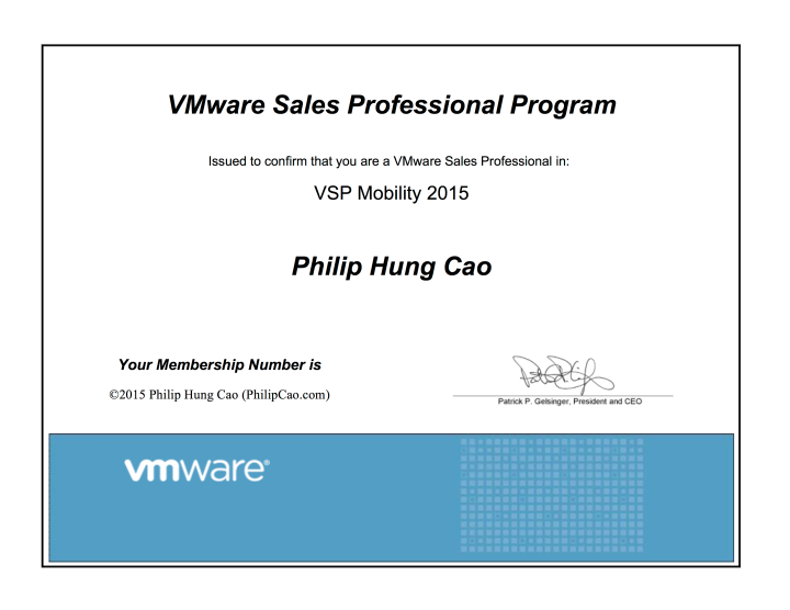 [2015] Philip Hung Cao - VMware Sales Professional (VSP) - Mobility 2015